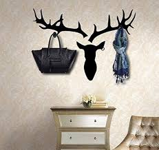 Black Deer Head Wall Decal With 3 Hooks Diy Hallway Bedroom Living Room Wall Decor Wallsymbol Com