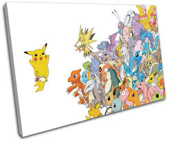 Amazon.com: Bold Bloc Design - Pokemon Pikachu GO Anime for Kids Room  90x60cm Single Canvas Art Print Box Framed Picture Wall Hanging - Hand Made  in The UK - Framed and Ready