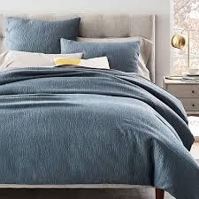 blue matelasse bedding west elm