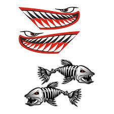 4x Big Shark Mouth Fish Skeleton Decal Sticker Kayak Boat Car Diy Graphics Archives Midweek Com