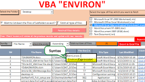 environ function in vba excel