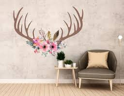 Boho Wall Decals Pink Floral Antlers Wall Decals Boho Antlers Wall Walls2lifedecals