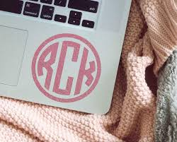 Amazon Com Custom Monogram Laptop Decal Circle Monogram Sticker For Computer Your Choice Of Size And Color Handmade