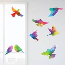 Bird Decals Watercolor Rainbow Pattern Set Of 8 Bird Stickers