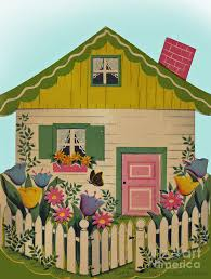 Vintage Greeting A Little House On The Green With White Picket Fense Painting By Pierpont Bay Archives