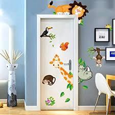 Amazon Com Cartoon Animals Wall Stickers Baby Bedroom Wardrobe Door Decoration Colorful Stickers Diy Children Mural Decals For Kids Rooms Kids Animal Wall Stickers For Nursery Decoration Art Sticker Decals Arts Crafts