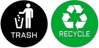 Amazon Com 2 Premium Quality Trash Recycle Stickers 1 Trash Sticker 1 Recycle Sticker For Use On Trash Cans Recycle Bins 4 Round Black Trash Green Recycle Home Kitchen