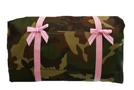 green camo duffle bags light pink trim