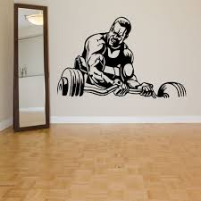 Sports Wall Decals Family Gym Art Wall Sticker Home Decors Living Room Man Fitness Weight Lifting Pattern Removable 1536 Wall Stickers Aliexpress