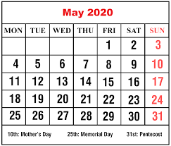 Blank May 2020 Calendar – Plan For ...