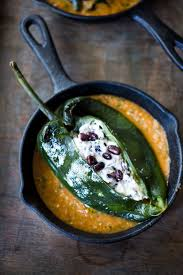 roasted chiles rellenos with black