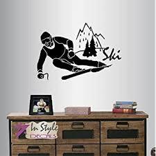 Ski Lift Vinyl Decal Mountain Lift Wall Sticker Nature Landscape Home Interior Removable Wall Decor Bedroom Art 9 Mnt Amazon Com