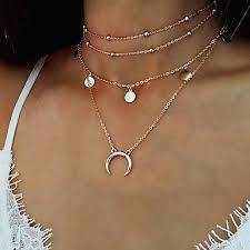 layered horn choker necklace gold