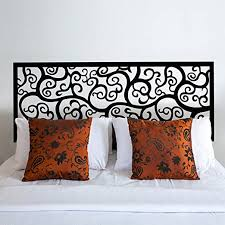 Amazon Com Battoo Bedroom Wall Decal Baroque Pattern Style Headboard Decal Bed Vinyl Wall Sticker Beautiful Flower Queen Black Home Kitchen