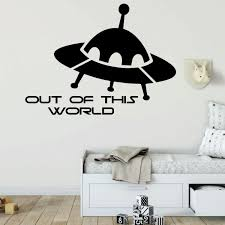 Amazon Com Spaceship Wall Decal Out Of This World Boys Bedroom Decoration Playroom Or Children Room Decor Handmade