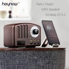 Món Quà tốt nhất Retro Gỗ Bluetooth Loa Phát Thanh mini Nhạc Cổ Điển FM Đài  Phát Thanh Âm Nhạc Loa 5W Loa Trầm Không Dây Micphone gọi quà Tặng|