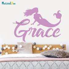 Personalized Sticker Mermaid Design Girl Baby Room Decor Daughter Of The Sea Wall Decal Custom Name Nursery Wallpaper Ba056 Wall Stickers Aliexpress