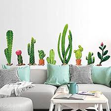 Amazon Com Cactus Wall Decal H2mtool Removable Art Nursery Plants Stickers For Kids Rooms Decor Cactus Arts Crafts Sewing