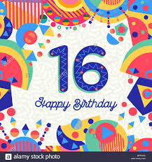 Feliz Cumpleanos 16 16 Anos De Diseno Divertido Con Numero Texto