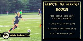 """Perrysburg Athletics on Twitter: """"Congratulations to @pburgsoccer18's Addie  Graham on netting her 70th career goal as a Yellow Jacket! With that goal,  she surpasses Perrysburg Alum Maddy Williams at the top of"""