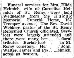 Funeral of Hilda King Helmich - Newspapers.com