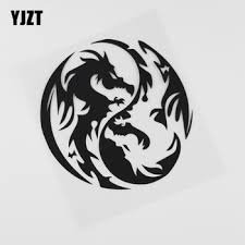 Yjzt 13 5cmx14 3cm Cute Dragon Yin Yang Fantasy Vinyl Car Sticker Black Silver 13c 0130 Cesyagwaaheya44