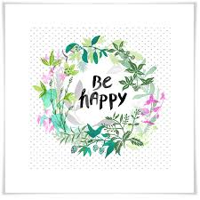 Be Happy Inspirational Canvas Wall Art Greenbox