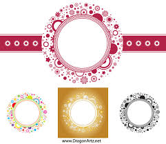 flower circle frame vector free vector