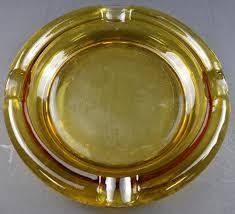 vintage ashtray amber glass tobacciana