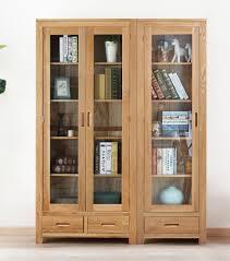 wood display glass cabinet book shelf