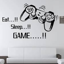 Eat Sleep Game Letters Vinyl Wall Sticker Joystick Gamepad Gamer Wall Art Design Decal Teen Kids Room Mural Removable N Wall Stickers Aliexpress