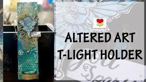 76. Altered wooden plank - T-light holder - Mixed media altered art  tutorial♥handmade gifts - YouTube