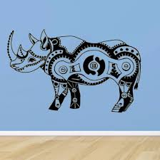 Art Wall Sticker Tribal Animal Wall Decoration Steampunk Rhino Poster Vinyl Art Removeable Poster Teen Mechanism Decal Ly142 Wall Stickers Aliexpress