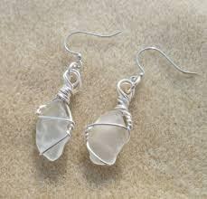 white sea glass earrings aftcra
