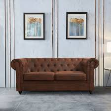 brown vintage leather on tufted