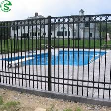 China Free To Customize Durable Square Bar Swimming Pool Fence Iron Fence Design China Swimming Pool Fence Steel Fence