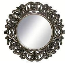 hudson round pewter wall mirror with