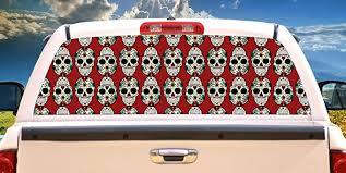 Amazon Com Signmission Sugar Skull Rear Window Graphic Truck View Thru Vinyl Decal Back Home Kitchen