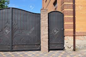 Building New Stone And Metal Fence With Door And Gate For Car Stock Photo Picture And Royalty Free Image Image 91606163