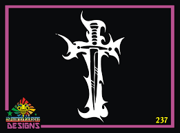 Sword And Fire Cross Vinyl Decal
