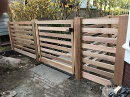 Contemporary Horizontal Wood Rail Fence And Gate Wood Fence Gates Lattice Fence Wood Gate