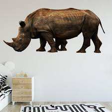 Rhino Peel And Stick Vinyl Wall Sticker Realistic Etsy