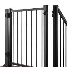 Trex Common 3 Ft X 4 Ft Actual 2 96 Ft X 3 87 Ft Gates Charcoal Black Aluminum Spaced Picket Decorative Fence Gate In The Metal Fence Gates Department At Lowes Com