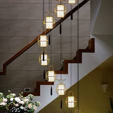 rotating stairwell long pendant lights