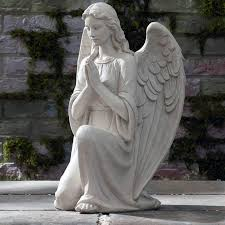 natural marble stone praying lady angel
