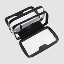clear travel case black makeup bag