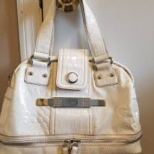 guess bags purse white patent leather