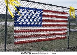 American Flag Made Of Plastic Cups On Schoolyard Fence Patriotic Freedom Stock Image Kh13100 Fotosearch