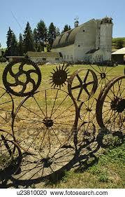 Uniontown The Palouse Country Wa Washington Whitman County Dahmen Barn Wagon Wheel Fence Roadside Attraction Stock Image U23810020 Fotosearch