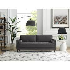 mid century modern dark gray sofa